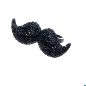 NEW KATE SPADE Mustache Ring pave glass Size 6